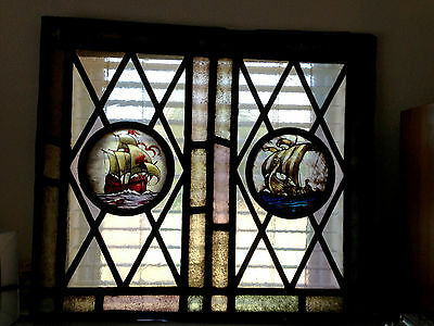 Antique  Stained Glass Window - Old English, Ships