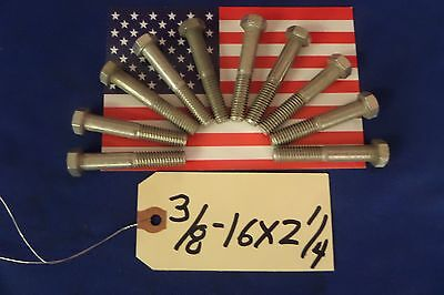 """3/8 - 16 x 2 1/4"""" 304 Stainless Steel Hex Head Bolts 10pcs"""