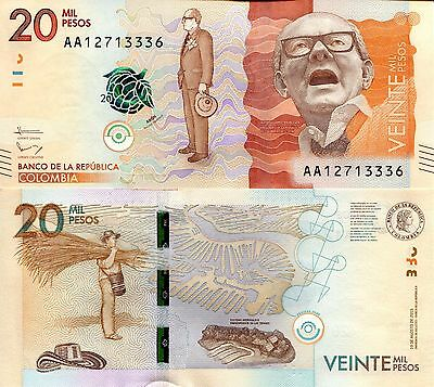 COLOMBIA 20000 Pesos Banknote World Paper Money UNC Currency Pick p-New 2016