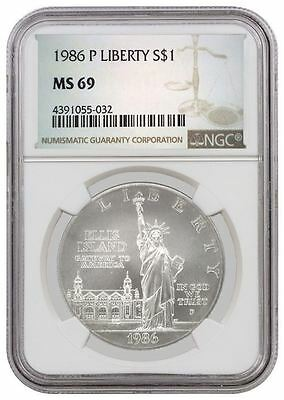 1986 P $1 Statue Of Liberty Centennial Commemorative Silver Dollar NGC MS69