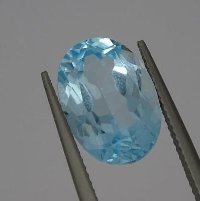 ***Beautiful Natural 7.7ct Blue Topaz Fancy Faceted Oval Cut Gemstone***