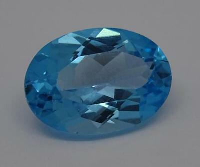 ***Beautiful Natural 6.5ct Blue Topaz Fancy Faceted Oval Cut Gemstone***