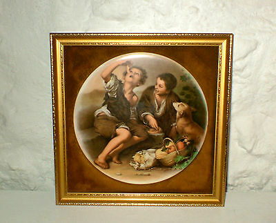 Vint Staffordshire Wall Plaque - Depicts Murillo's Baroque Urchin Boys /fruit