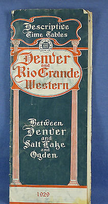 1929 Denver & Rio Grand Western Railroad / Western Pacific RR Map & Time Tables