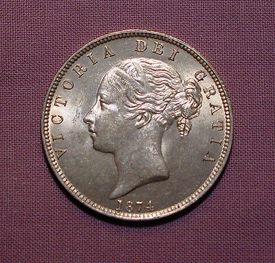 1874 QUEEN VICTORIA YOUNG HEAD HALFCROWN - Top Grade With Lustre