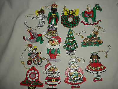 #12 VTG (Lot of 13) Hand Painted WOODEN Christmas ORNAMENTS Beautiful!