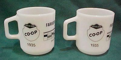 Two Galaxy white glass cups mugs 1985 Lawton ND Co-Op Farmers Union Oil FREE S/H