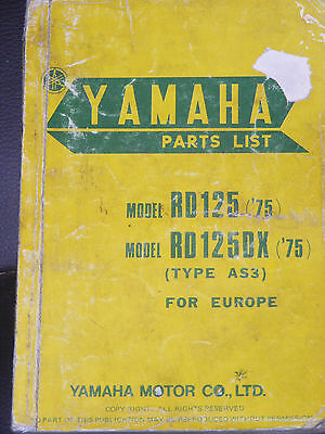Yamaha Rd125 / Rd125Dx  (Type As3 )  1973   Part List Manual
