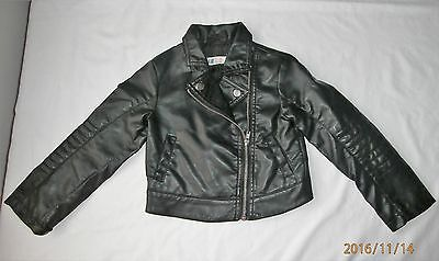 h&m girls  faux leather biker jkt age 4-5 years worn once