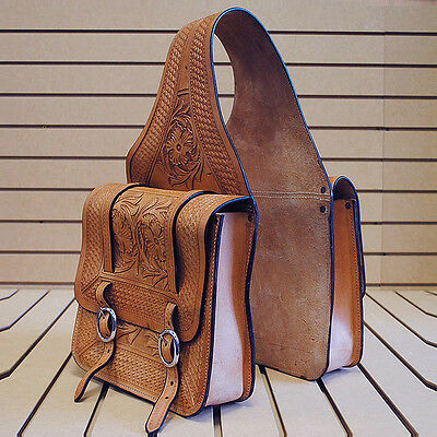 New Hilason Western Floral Hand Tool Leather Cowboy Trail Ride Horse Saddle Bag