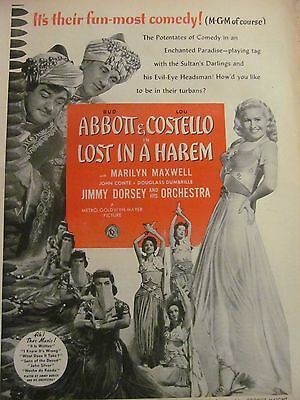 Abbott and Costello, Lost in Harem, Full Page Vintage Promotional Ad