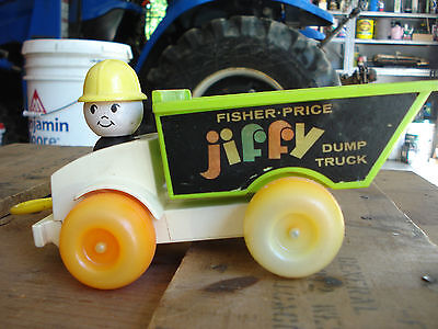 Vintage Fisher Price 1970s JIFFY Dump Truck Pull Toy Well Played With - Works
