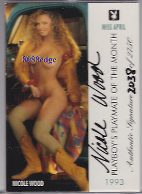 1995 Playboy Playmate Authentic Auto: Nicole Wood #/2750 Autograph Miss April