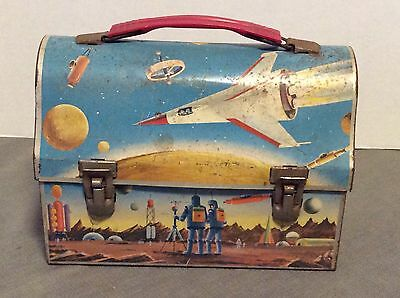 Vintage 1960 Thermos Domed Metal Astronaut Outer Space Lunchbox Sci-Fi Rockets