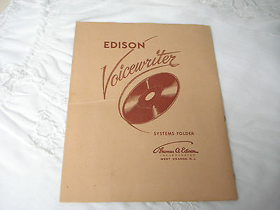 Vintage EDISON VOICEWRITER SYSTEMS FOLDER & Schematics Stereotone / Dictograph