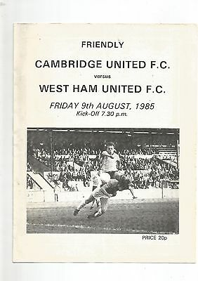 Friendly Cambridge United v West Ham United 9th August 1985