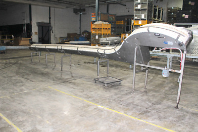 "Nercon 28' x 12"" Stainless Steel Table Top Plastic Chain Conveyor with Incline"