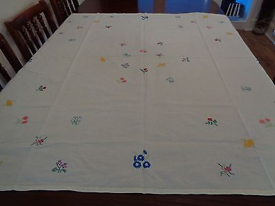 Vintage Cotton/linen  Hand Embroidered Table Cloth,