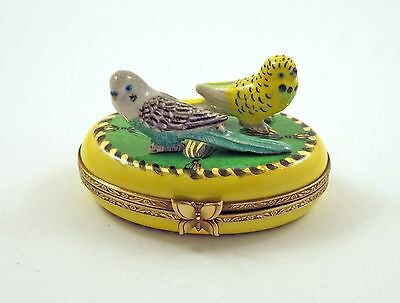 New French Limoges Trinket Box Yellow Budgie Budgerigar Parrot & Green Parakeet