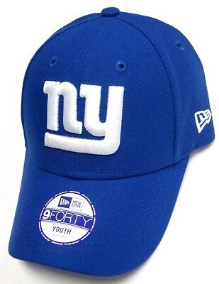 f28535227 New York Giants NFL New Era 9Forty Blue Hat Cap YOUTH White NY Logo  Adjustable