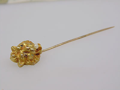 ANTIQUE 16k GOLD HAT STICK PIN FIERCE LION SEED PEARL RED STONE EYES ART NOUVEAU