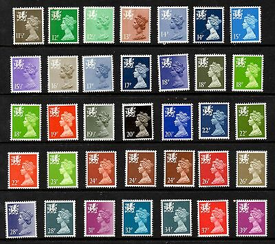 Wales. W35-W69. Collection x 35 Questa definitives. Fine unmounted mint.