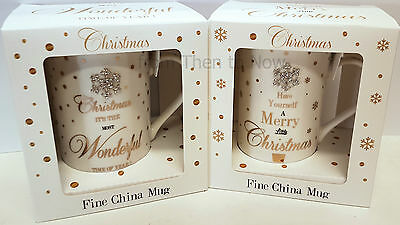 White Gold Mad Dots Christmas Crystal Snowflake China Mug Cup Xmas Gift Present