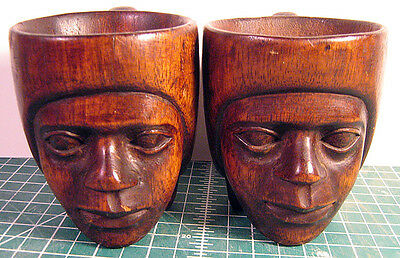 Carved Wooden Face Cups