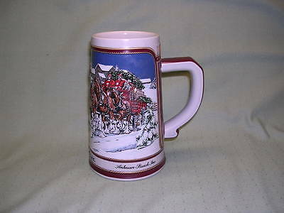 Budweiser 1989 Christmas Stein - Clydsdales Hitch on a Winter's Evening