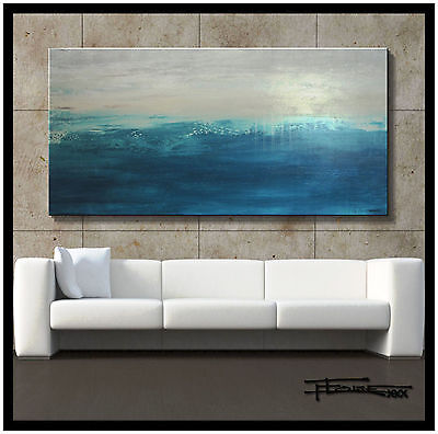 ABSTRACT PAINTING MODERN CANVAS WALL ART Large, 60x30 Signed USA  ELOISExxx
