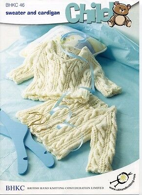 BHKC / UKHKA 46 Baby Cable Jumper and Cardigan DK Yarn Knitting Pattern