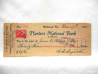 1900 Bank Check PLANTERS NATIONAL BANK OF RICHMOND VA  A H Meyer & Bro Jewelry
