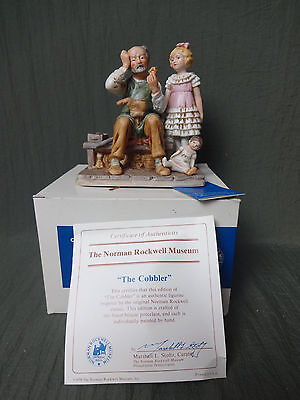 """1979 Norman Rockwell """"The Cobbler"""" Figurine with Certificate and Box"""
