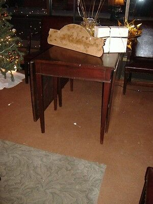 Mahogany Drop Leaf Federal Dining Table Vintage Antique