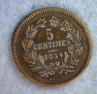 LUXEMBOURG 5 CENTIMES 1854 VERY FINE COIN (stock# 0546)