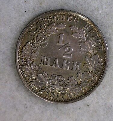 GERMANY 1/2 MARK 1917 A UNCIRC SILVER COIN (stock# 0091)