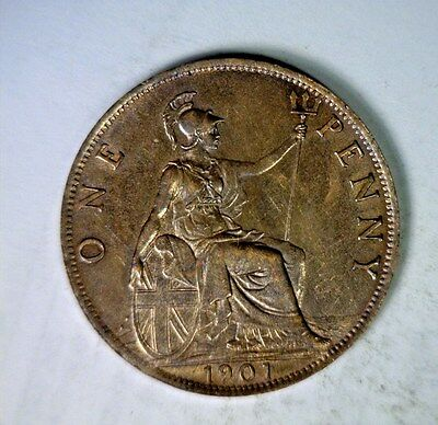 GREAT BRITAIN PENNY 1901 ABOUT UNCIRCULATED COIN ( stock# 0659)