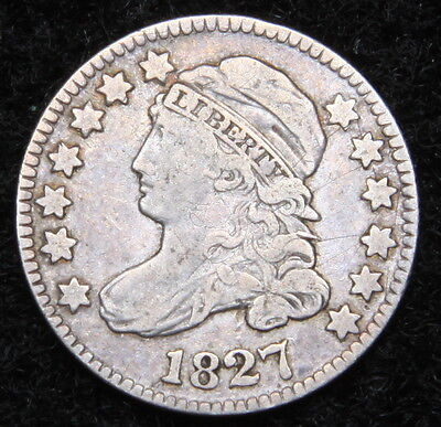 1827 Capped Bust Dime 10 Cents - Nice Coin, Free Shipping  (5110)