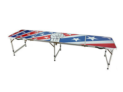 New Beer Pong Table 8' Aluminum Folding American Flag Tailgate Drinking Game 11