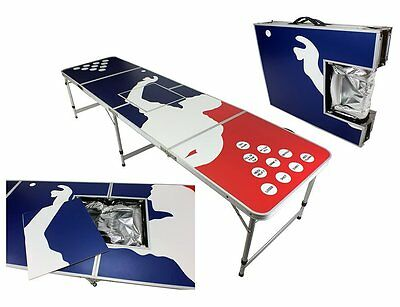 New 8' Aluminum Beer Pong Table Ice Bag Cooler Folding Tailgate Drinking Game #7