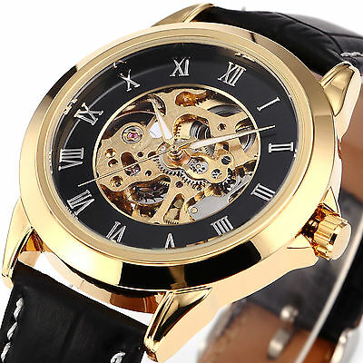 Skeleton Dial Automatic Mechanical Watch Mens Synthetic Leather Strap Watches
