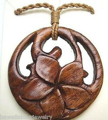 "40mm Carved Maori Plumeria Frangipani Koru Hawaiian Koa Wood Pendant 27"" Adjust"