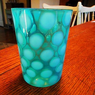 """Vintage Victorian Blue & White Opalescent 4"""" Coin Dot Glass Tumbler-b"""