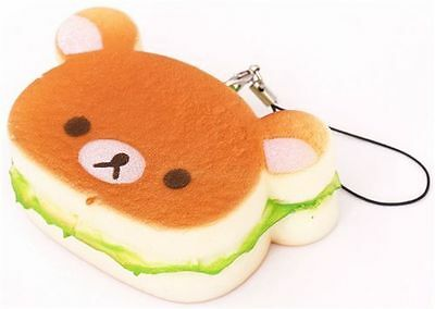 2PCS Kawaii Bear Squishy Hamburger Soft Bear Bread Scented Straps Phone Charms