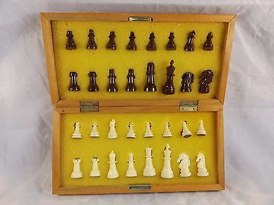 Vintage Portable Chess Chess Set ~ Playing Board on Wooden Case