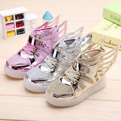 Boys Girls LED Light up Lace Up Luminous Sneakers for Kids Casual Shoes