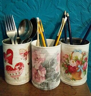 Vintage / Shabby Chic Decoupaged Tins- Cutlery/Pens/Make uo Brushes Holders