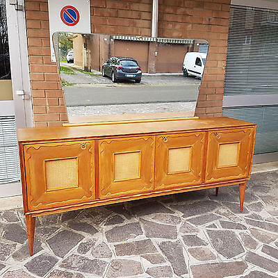 BEAUTIFUL BIG SIDEBOARD IN MAPLE WITH LARGE MIRROR ITALIAN DESIGN FROM 50s