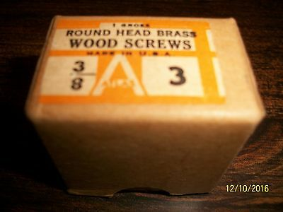 """Box With 120 Vintage - 3/8"""", Size 3, Round Head, """"brass"""", Slotted Wood Screws"""