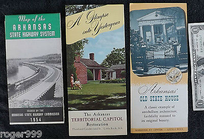 VINTAGE 1950s ARKANSAS OLD STATE HOUSE BROCHURE TERRITORIAL STATE CAPITOL & MAP
